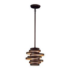 "Vertigo Mini Pendant, Bronze With Gold Leaf, Caramel Ice, 9.25"", Led"