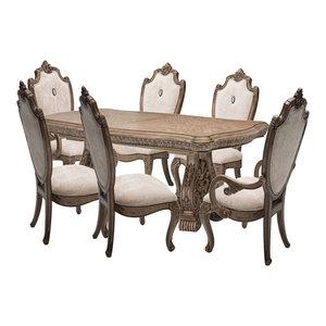 AICO Villa di Como 7-Piece Rectangular Dining Set, Heritage