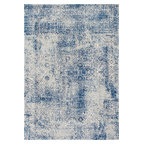 Traditional Vintage Faded Shadow Mystique Rug Blue 6 7 X9