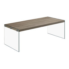 22-inch X 44-inch X 16-inch Dark Taupe - Coffee Table With Tempered Glass