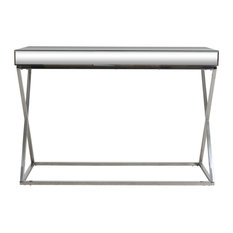 Tommy Modern Glam Console Table With Mirror Tabletop Silver