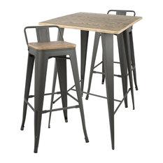 LumiSource Oregon 3-Piece Pub Set, Gray With Medium Brown Wood