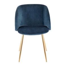 Fran Chair, Gold Metal, Set of 2, Blue Velvet