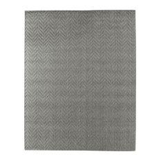 Demani Modern Classic Textured Chevron Pattern Dark Gray Rug, 12'x15'