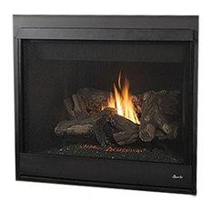 "Superior DRT4040DMP-B 40"" DV Millivolt Black Interior Fireplace, Liquid Propane"