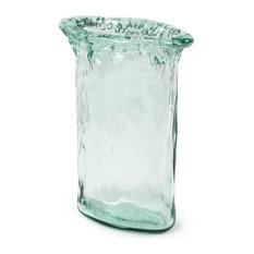 """100% Recycled Glass Textured Small Oval Vase, 7.25""""x4.25""""x10"""""""