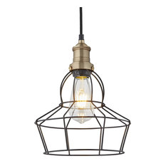 Brooklyn Wire Cage Pendant, Brass