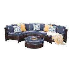 GDFStudio - 5-Piece Riviera Ponza Patio Semicircular Sectional Waterproof Cushions Set - Outdoor Lounge Sets