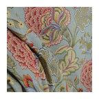 Meadowlark Surf Floral Blue Jacobean Fabric