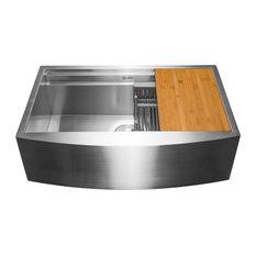 "AKDY Home Improvement - AKDY 33""x22""x9"" Apron Farmhouse Handmade Stainless Steel Kitchen Sink - Kitchen Sinks"
