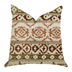 "Arabesque Shades of Brown Luxury Throw Pillow, 18""x18"""