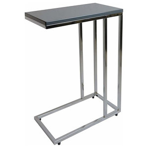 Modern End Table in MDF and Chrome, Coated Steel Frame, Grey