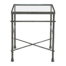 Rand Industrial Loft Pewter Grey Glass End Table