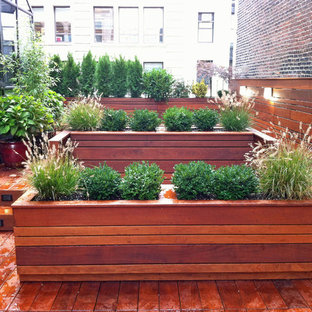 NYC Roof Garden: Terrace Deck, Wood Planter Boxes, Fence, Container Garden, Ipe