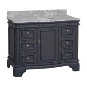 "Katherine Bath Vanity, Base: Charcoal Gray, 48"", Top: Carrara Marble"