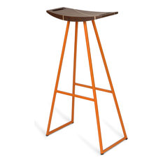 Robert Inlay Bar Stool, Orange, Walnut
