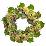 Melrose International - Hydrangea/Peony Wreath, Green/Pink/Purple - A variety of green shades with touches of purple and pink. Large Hydrangeas and Peonies create a beautiful design.