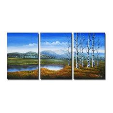 "Family of BircCanvas Wall Art, 36""x72"", 3 Piece Set"