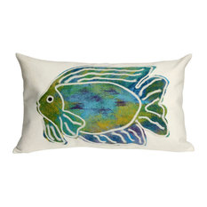 "Batik Fish Aqua Pillow - 12""X20"""