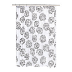 """""""Lucerne"""" Fabric Shower Curtain with Poly Taffeta Flocking in Black/White"""