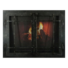 """Iron Fireplace Glass Door With Gate Mesh, Black Copper, 42""""x33"""""""
