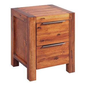 vidaXL Solid Acacia Wood Bedside Cabinet, Brown, 45x42x58 cm