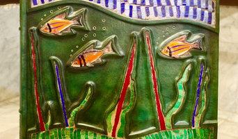 Poissons: Livre en cuir, mosaïque, verre de Murano