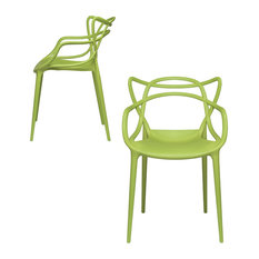 Masters Entangled Chair, Modern, Stackable, Set of 2, Green