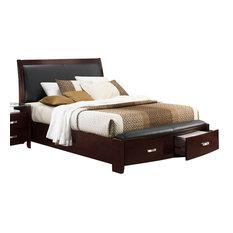 Homelegance Lyric Platform Bed With Storage Footboard, Dark Espresso