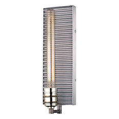 Corrugated Steel 1-Light Wall Sconce, Weathered Zinc And Polished Nickel