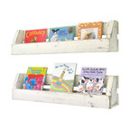 Set of 2 White Distressed Wall Shelves