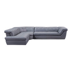 397 Modern Italian  Leather Sectional Sofa In Gray