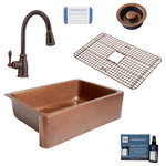 "Sinkology - Adams 33"" Farmhouse Copper Kitchen Sink, Canton Faucet and Strainer Drain - Sinkology and Pfister have partnered to create easy-to-buy kits designed for everyday, easy living. This kit features the classically beautiful Adams 33"" single-bowl solid copper farmhouse kitchen sink and the charming Canton single-handle faucet with an easy-toggle, pull-down spray head. The Canton faucet is designed for quick use and one-handed operation while maintaining an understated elegance and beauty that pairs perfectly with Sinkology copper sinks. With the included optional deckplate, Sinkology and Pfister have made it easier than ever before to bring home the charm and everyday functionality of a farmhouse sink. This kit also includes a protective Sinkology bottom grid, Sinkology disposal drain and Copper Care IQ kit to complete your all-in-one solution. Sinkology backs all of its products with the Sinkology Everyday Promise, and all Pfister products come with the Pfister Pforever warranty that covers the finish and function for life."