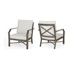 Sloane Outdoor Aluminum Club Chairs With Cushions, Set of 2, Brown, Cream