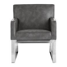Sheldon Armchair, Gray Leather