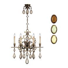 Fine Art Lamps 718240-1ST Encased Gems Bronze Multi Color Crystal 6 Light Chande