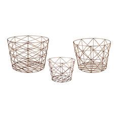 Dimond Home Nested Geometric Copper Baskets, 3-Piece Set