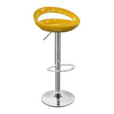 Half Moon Retro Adjustable Breakfast Bar Stool, Chrome, Yellow