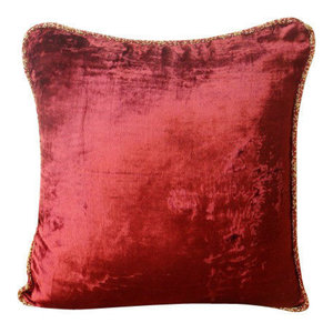 Maroon Solid Color Cushion Covers, 50x50 Velvet Cushions Cover, Maroon Shimmer