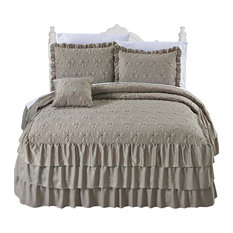Matte Satin Ruffle 4 Piece Bed Spread Set, Taupe, Queen