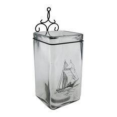 Sailboat On Glass Decorative Square Shaped Table or Wall Vase 16 Inch