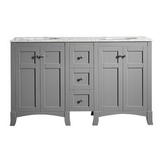 "Arezzo Vanity With Carrara White Marble Top, Gray, 60"", Without Mirror"