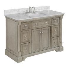 "Sydney Bath Vanity, Weathered Gray, 48"", Carrara Marble, Single Sink"