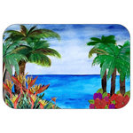 "Mary Gifts By The Beach - Tropical Beach Plush Bath Mat, 20""x15"" - Bath mats from my original art and designs. Super soft plush fabric with a non skid backing. Eco friendly water base dyes that will not fade or alter the texture of the fabric. Washable 100 % polyester and mold resistant. Great for the bath room or anywhere in the home. At 1/2 inch thick our mats are softer and more plush than the typical comfort mats.Your toes will love you."