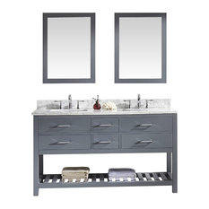 "Caroline Estate 60"" Double Bathroom Vanity Cabinet Set, Gray"