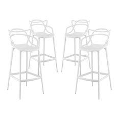 Modway - Modway Entangled Bar Stools, Set of 4, White - Bar Stools and Counter Stools