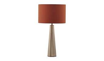 Copper 60W E14 Table Lamp Complete With Orange Linen Shade