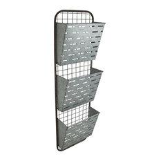 Cheung's Metal 3 Tier Wall Decor With Slat Metal Pockets