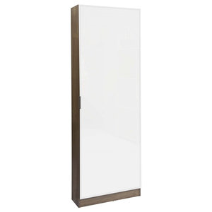 Nova 1-Door Mirrored Shoe Rack, Oak