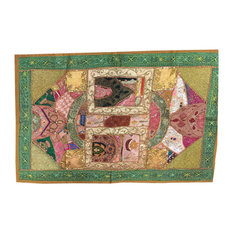 Mogulinterior - Indian Vintage Style Embroidered Green Wall Hanging Patchwork Home Decor - Tapestries